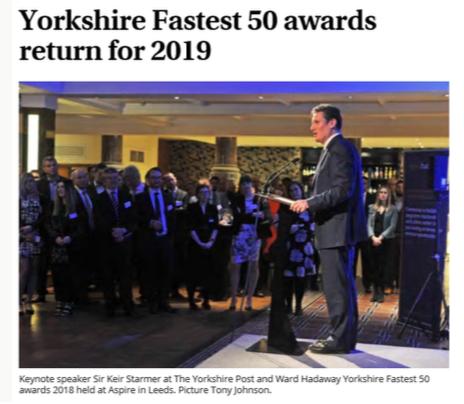 Yorkshire Fastest 50 awards return for 2019