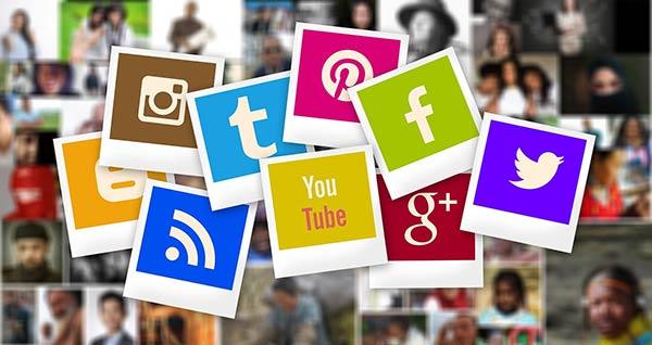 Polaroid images of social media logos